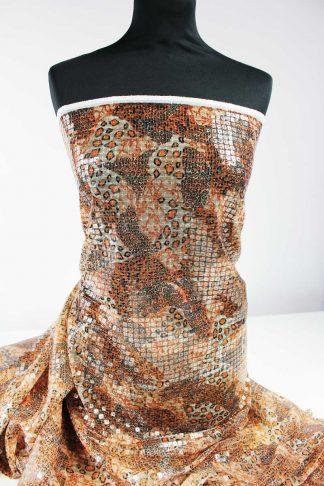 Haute Couture Paillettenstoff braun - 76-079-019