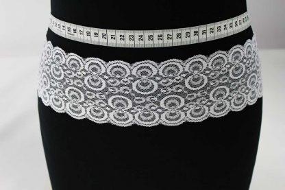 Hochwertiges Leavers Webspitzenband mit Bogenkante - weiß - 80-044-001
