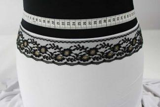 Spitzenborte mit Lurexgarn - gold schwarz - 80-048-247